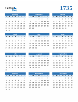 Image of 1735 1735 Calendar Blue with No Borders