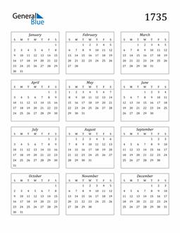 Image of 1735 1735 Calendar Streamlined