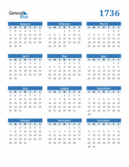 Image of 1736 1736 Calendar Blue with No Borders