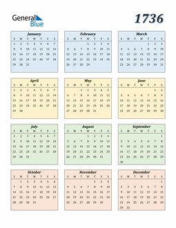 Image of 1736 1736 Calendar with Color
