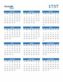 Image of 1737 1737 Calendar Blue with No Borders