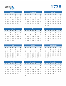 Image of 1738 1738 Calendar Blue with No Borders