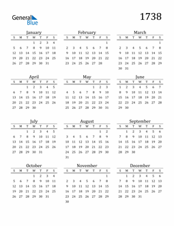 Image of 1738 1738 Printable Calendar Classic