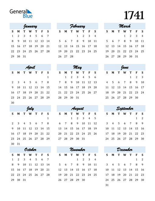 Image of 1741 1741 Calendar Cool and Funky