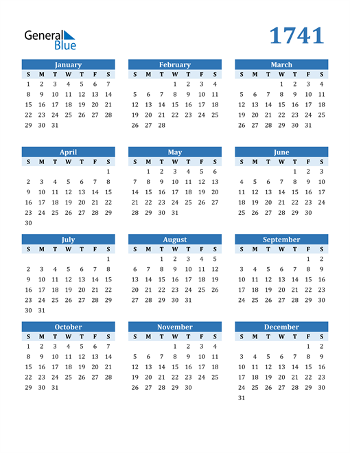 Image of 1741 1741 Calendar Blue with No Borders