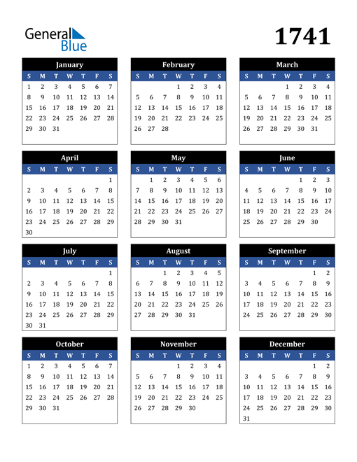 Image of 1741 1741 Calendar Stylish Dark Blue and Black