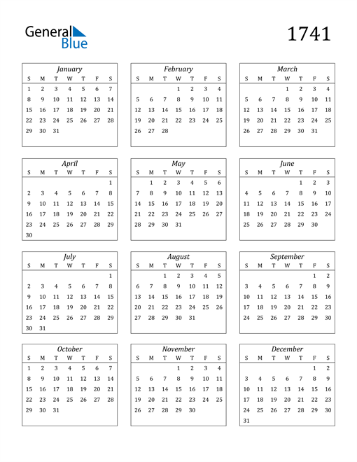 Image of 1741 1741 Calendar Streamlined