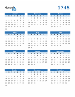 Image of 1745 1745 Calendar Blue with No Borders