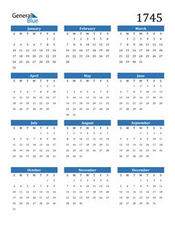 Image of 1745 1745 Calendar
