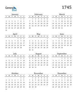Image of 1745 1745 Printable Calendar Classic