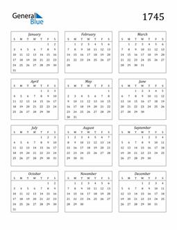 Image of 1745 1745 Calendar Streamlined