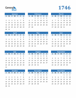 Image of 1746 1746 Calendar Blue with No Borders