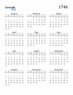 Image of 1746 1746 Printable Calendar Classic
