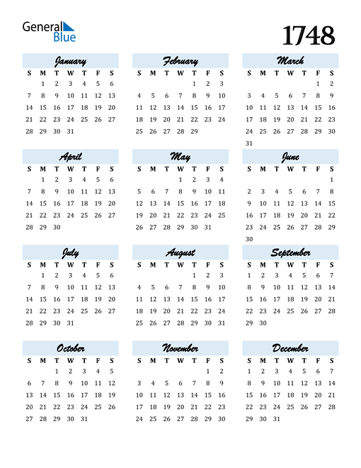 Image of 1748 1748 Calendar Cool and Funky