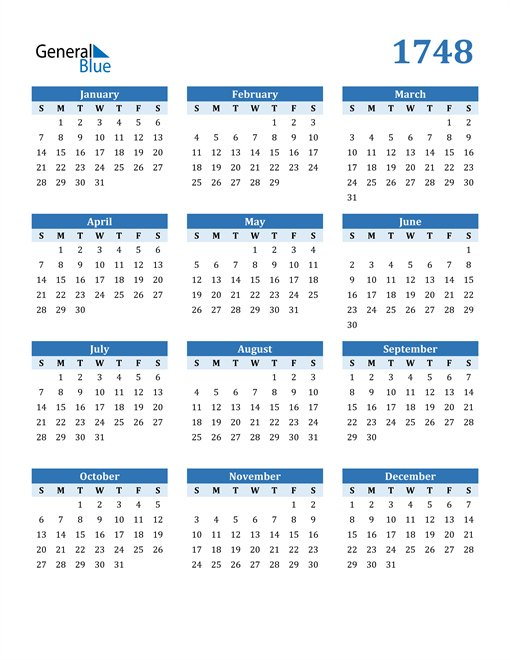 Image of 1748 1748 Calendar Blue with No Borders