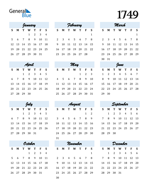 Image of 1749 1749 Calendar Cool and Funky