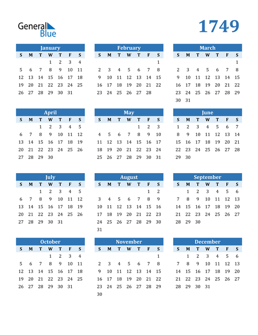 Image of 1749 1749 Calendar Blue with No Borders