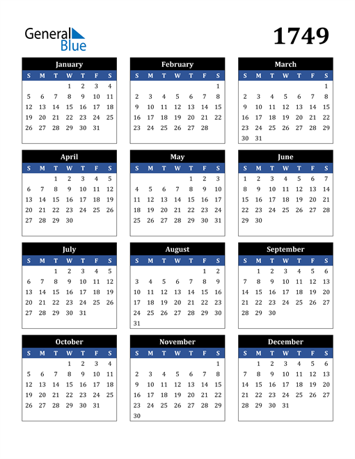 Image of 1749 1749 Calendar Stylish Dark Blue and Black