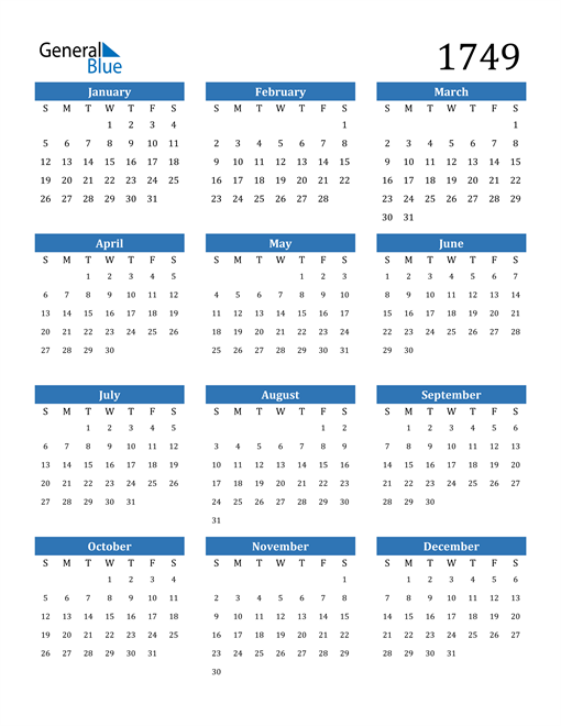 Image of 1749 1749 Calendar