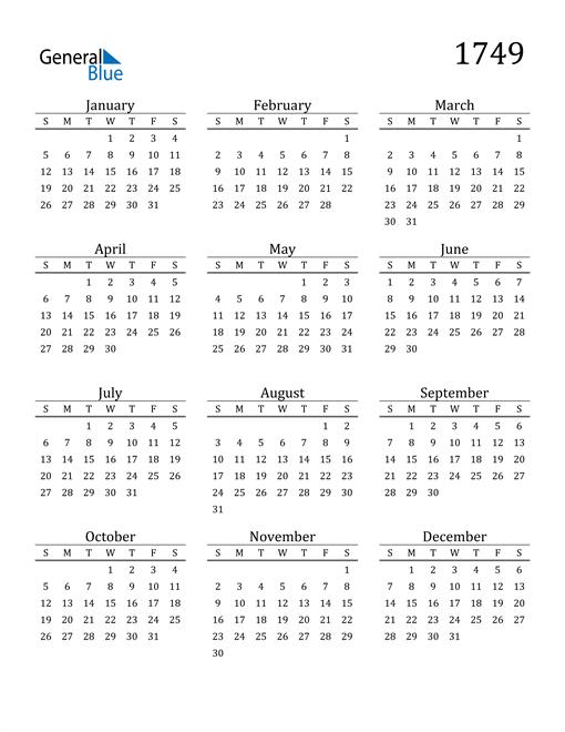 Image of 1749 1749 Printable Calendar Classic