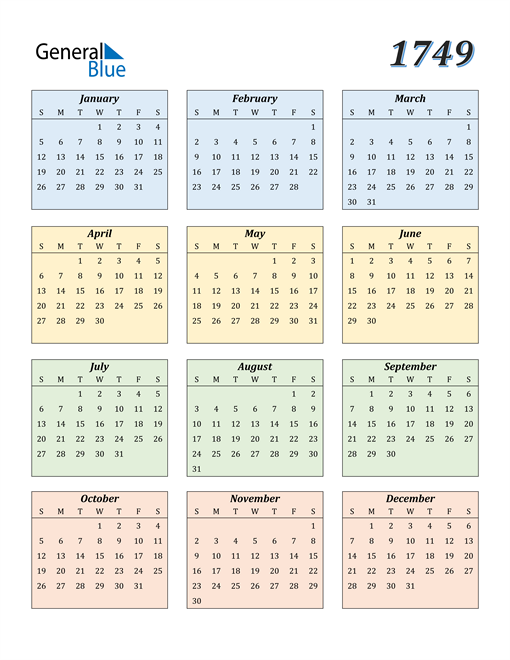 Image of 1749 1749 Calendar with Color