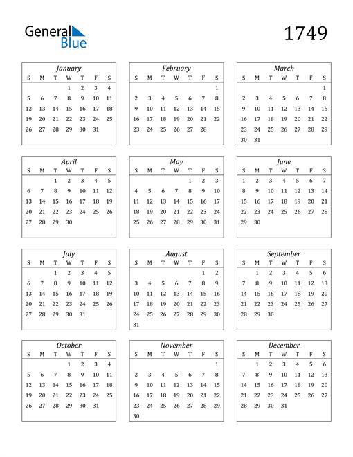 Image of 1749 1749 Calendar Streamlined
