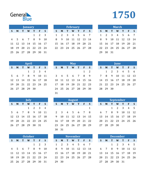Image of 1750 1750 Calendar Blue with No Borders