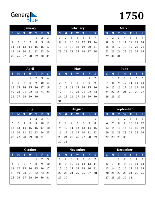 Image of 1750 1750 Calendar Stylish Dark Blue and Black