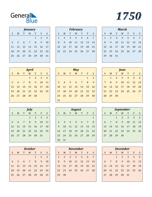 Image of 1750 1750 Calendar with Color