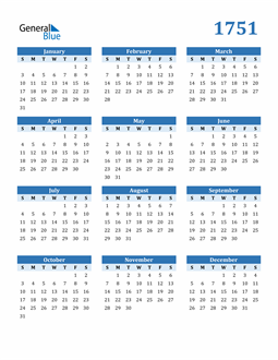 Image of 1751 1751 Calendar Blue with No Borders