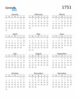 Image of 1751 1751 Printable Calendar Classic