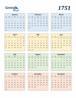 Image of 1751 1751 Calendar with Color