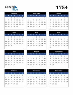 Image of 1754 1754 Calendar Stylish Dark Blue and Black