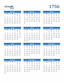 Image of 1756 1756 Calendar Blue with No Borders