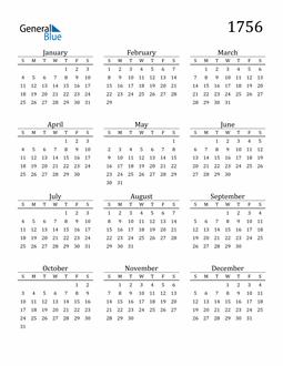 Image of 1756 1756 Printable Calendar Classic