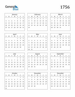 Image of 1756 1756 Calendar Streamlined