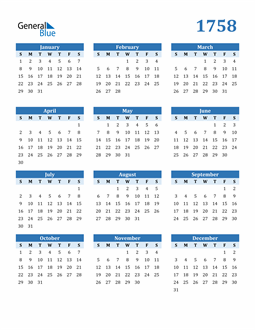 Image of 1758 1758 Calendar Blue with No Borders