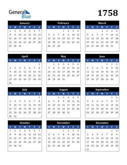 Image of 1758 1758 Calendar Stylish Dark Blue and Black