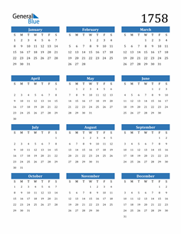 Image of 1758 1758 Calendar