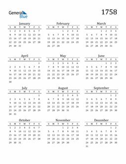 Image of 1758 1758 Printable Calendar Classic