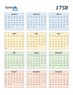 Image of 1758 1758 Calendar with Color