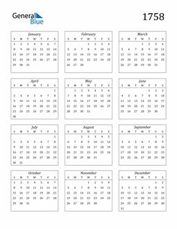 Image of 1758 1758 Calendar Streamlined