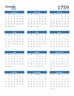 Image of 1759 1759 Calendar