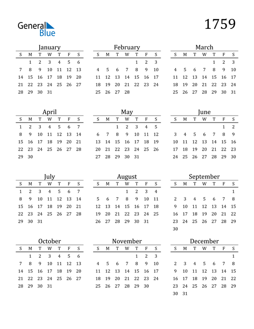 Image of 1759 1759 Printable Calendar Classic