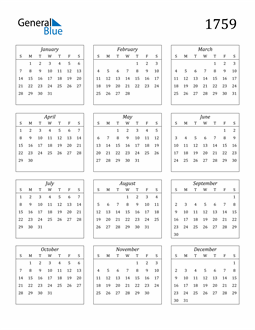 Image of 1759 1759 Calendar Streamlined