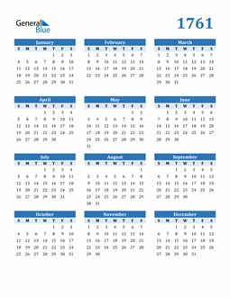 Image of 1761 1761 Calendar Blue with No Borders