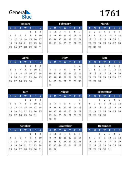 Image of 1761 1761 Calendar Stylish Dark Blue and Black