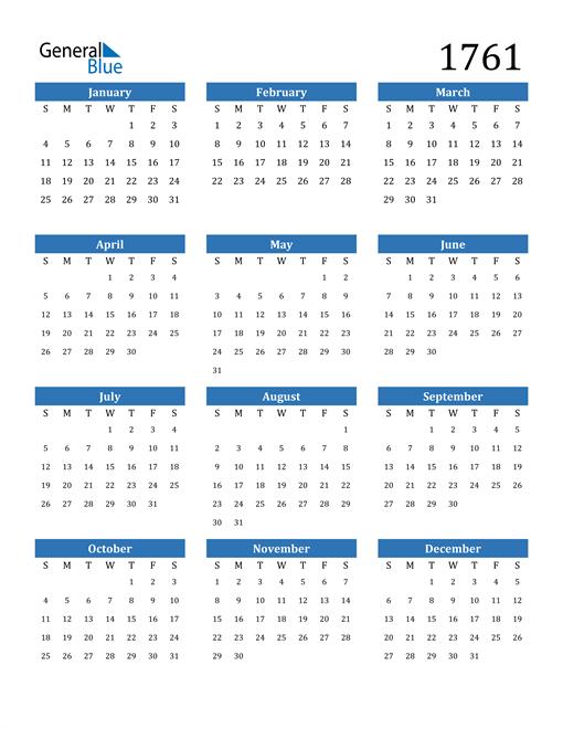 Image of 1761 1761 Calendar