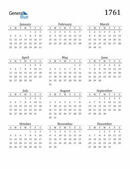 Image of 1761 1761 Printable Calendar Classic