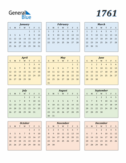 Image of 1761 1761 Calendar with Color
